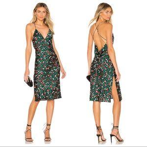 Superdown Green Leopard Paloma Cowl Back Dress